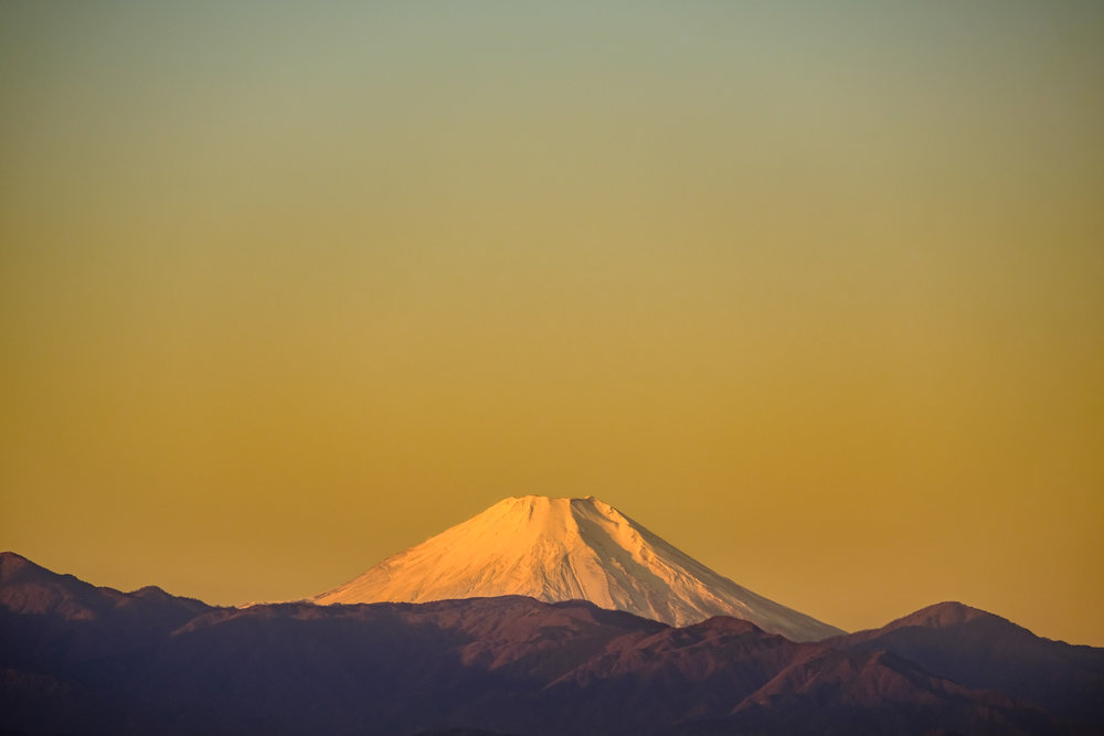Mount Fuji seen from Suginami ward in Tokyo in autumn 2018