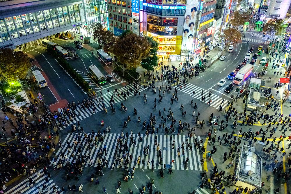 Shibuya Crossing on a Sunday evening