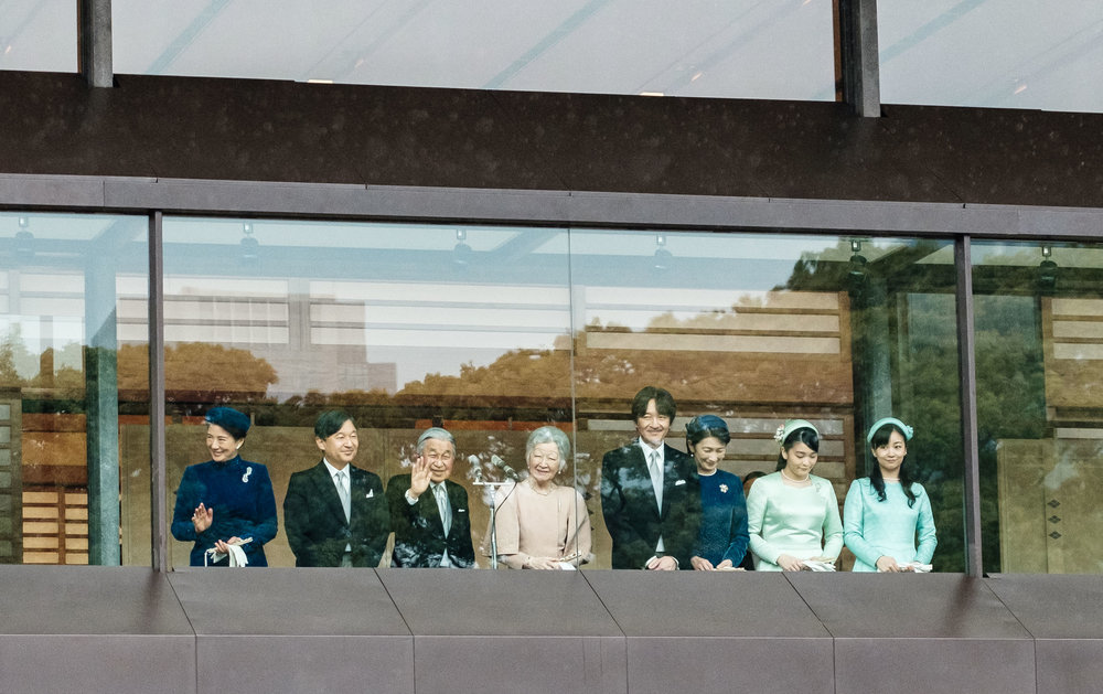 The Heisei Emperor and his family on the balcony of Chowaden Hall for the last time.