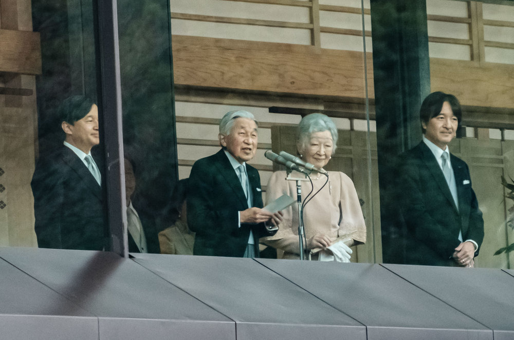 The Emperor and Empress with their sons, Crown Prince Naruhito on the left and Prince Akishino the right.