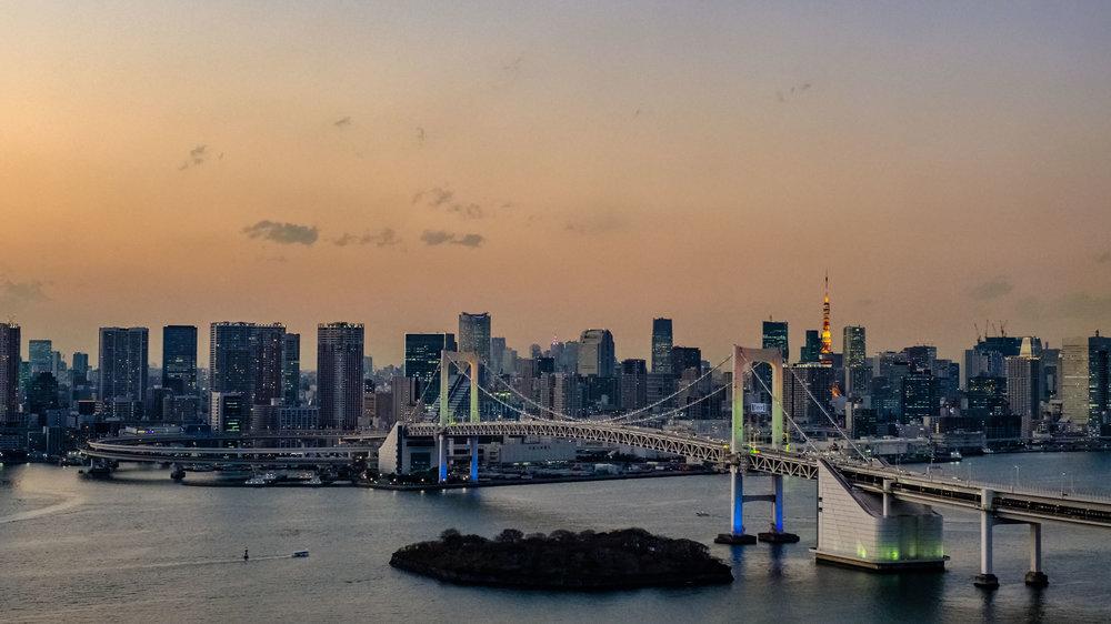 Sunset over Rainbow Bridge and Tokyo Tower