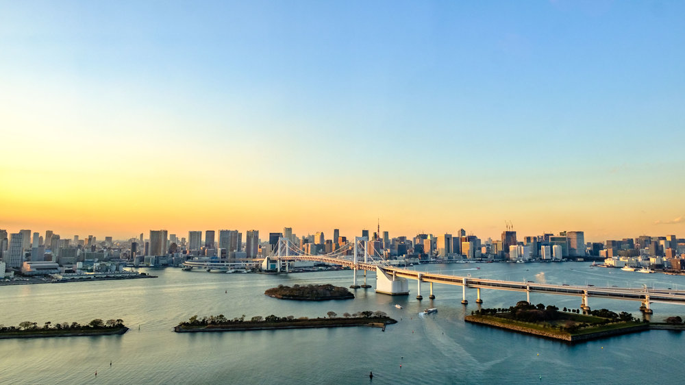 The Tokyo Skyline from Odaiba looks very impressive at sunset