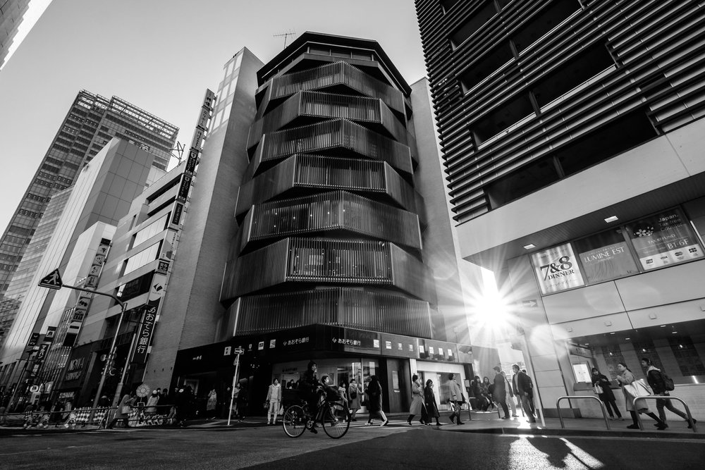 The Yasuyo Building in black and white