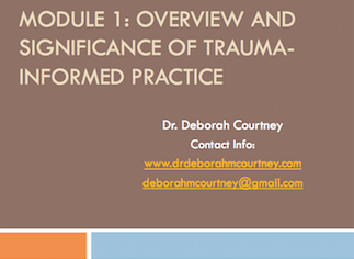 This three-hour workshop will: Explore the differences between Objective and Subjective Definitions of Trauma.  Discussion will be facilitated around the types of traumas staff witness in the stories of the people they serve at the agency.  Traumas from all levels of practice will be explored, such as interpersonal trauma (abuse, experience of violence) to macro traumas (poverty, micro-aggressions, global violence). An explanation of why using a trauma informed perspective as a social service worker will be provided, including the significance of trauma in the development of mental health and behavioral concerns, relational disorders, intergenerational transmission and impacts on communities. Foundational, concrete skills such as assessment of trauma, creating and holding a safe space, self-care, the significance of the helping relationship (no matter how brief) will be provided for staff to work on until the next training. Putting support systems in place to support staff through this discussion will be discussed.