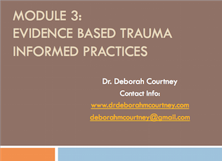 This three-hour workshop will: Introduce staff to a variety of evidence-based trauma informed practices. Theories will be explained, skill application to a variety of client populations will be explained (from brief crisis models to longer term treatment). Exercises will be done to help integrate the knowledge in a deeper way. Brief videos will be utilized to illustrate the work.  Integration of some of the skills in practice moving forward will be discussed.  Self care and supporting each other will again be emphasized.
