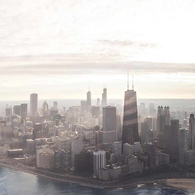 Take a chance to gain a higher perspective, the view is always more stunning from up there. #chicago #helicopter #flight