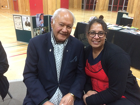 Matua Andy Joseph with TPO RN Alice Chisnall-Kalouniviti at the Cancer Kōrero.