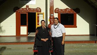 Te Piki Oranga Kaimahi - Michelle Trōw and Walter Tia graduands of the National Certificate in Hauora (Māori Health) Level 4, Rehua Marae, 9 November 2017