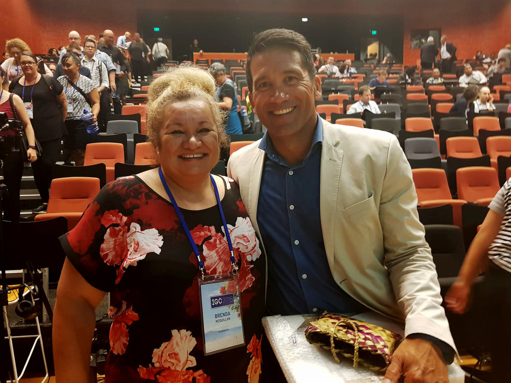 Brenda McQuillan with Dr. Lance O'Sullivan at the International Gambling Conference 2018 in Auckland