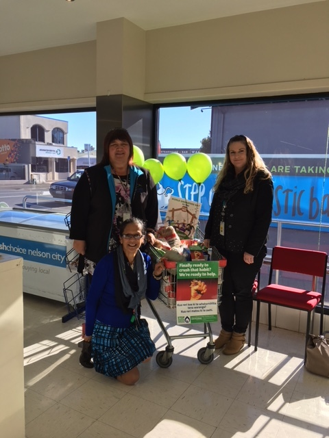 Sonia Hepi-Treanor with Jo Delany (Smokefree Administrator) and Miraka Norgate (Health Promoter Smokefree, NMH) at Fresh Choice.