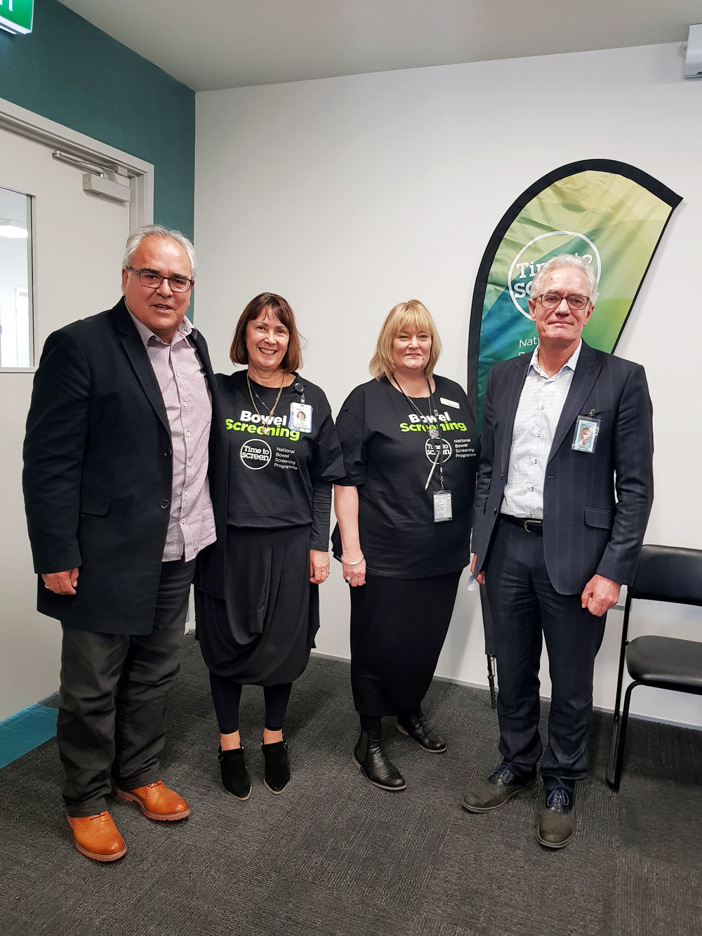 Pictured above at the launch are: Ricky Carr (Pūkenga Kaiwhakahaere – Wairau) Ms. Lexie O'Shea (GM Clinical NMH) Ms. Joyce Forsyth (NMH Bowel Screening Team) and Mr. Gerald Hope (NMH Board member)