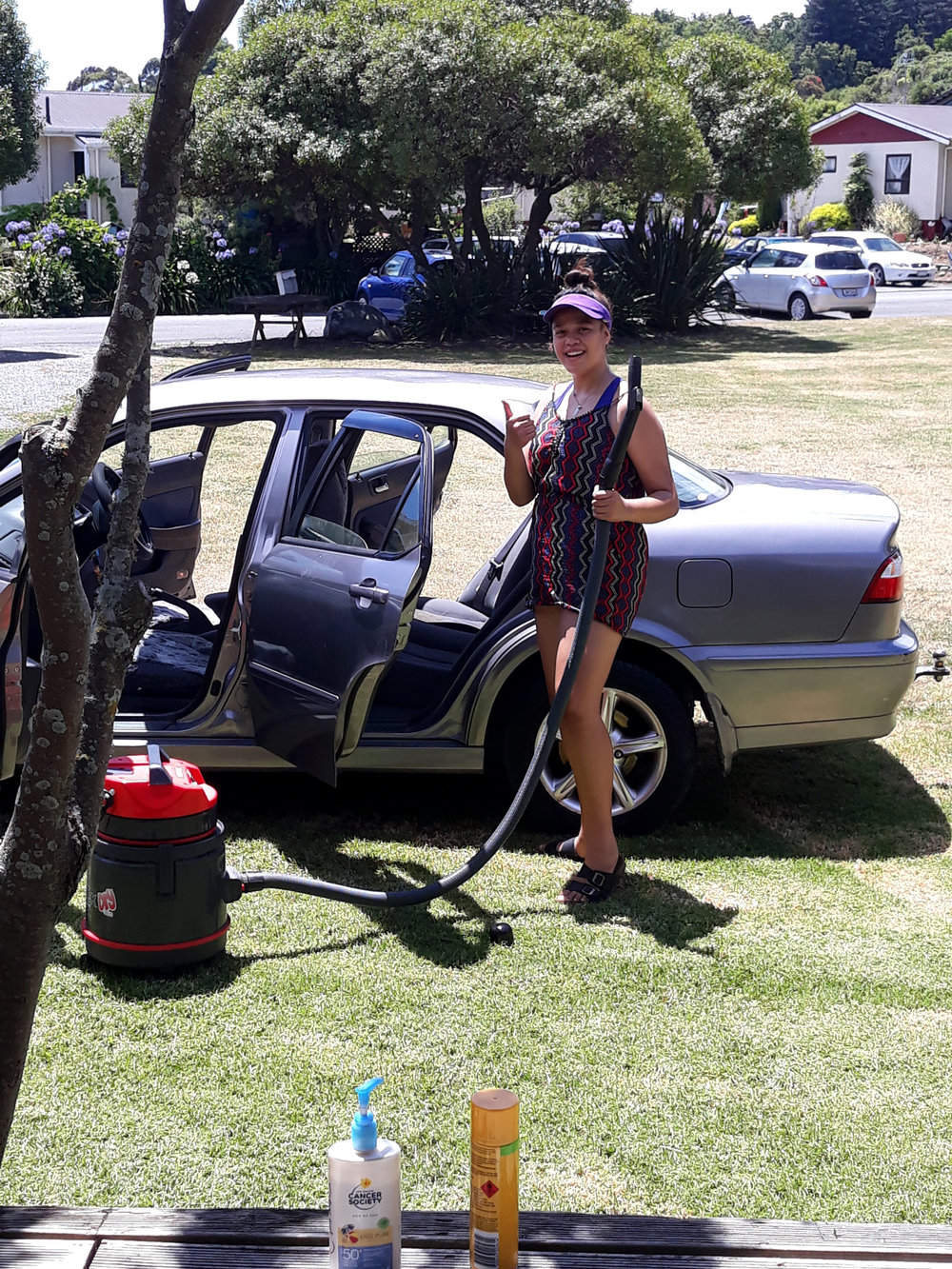 Waimaria doing car wash fundraising at Whakatū Marae