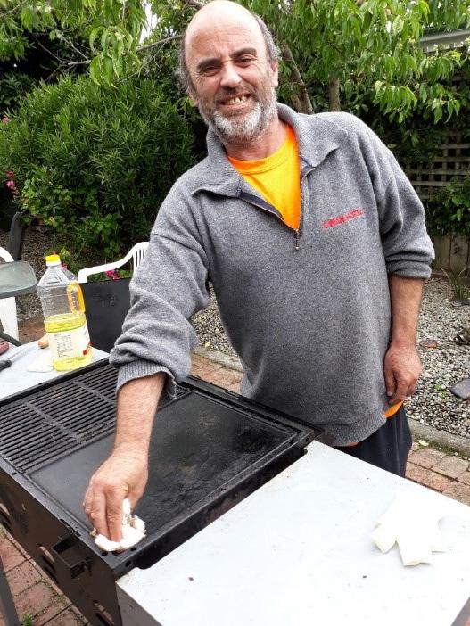 Nick Harding preparing the BBQ