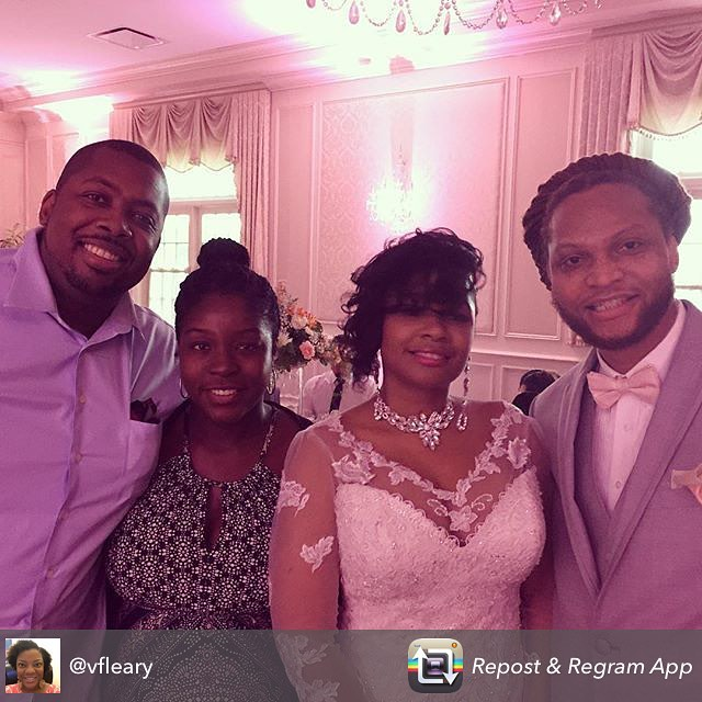 Repost from @vfleary #AVWEDD Mr. and Mrs. Dre Ball and guests @therealtstorm and Mrs!! @mskayleeg @4evaevadotcom