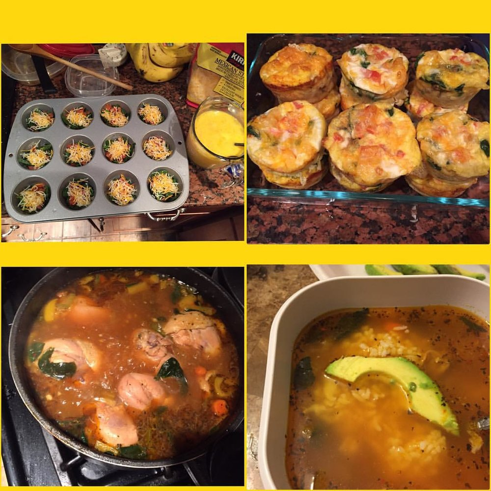 Made dinner as well as breakfast for tomorrow. Chicken and vegetables soup for dinner was delicious 👌🏾made egg muffins for breakfast for tomorrow.