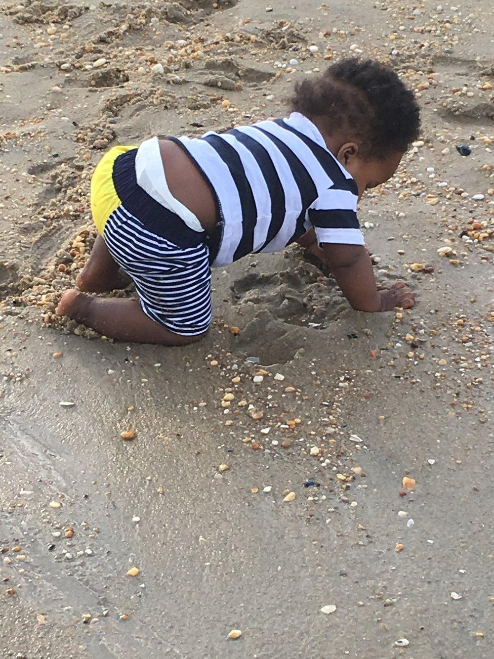 Tahir enjoying the seashells