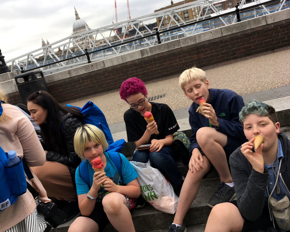 Enjoying ice cream on the banks of the River Thames