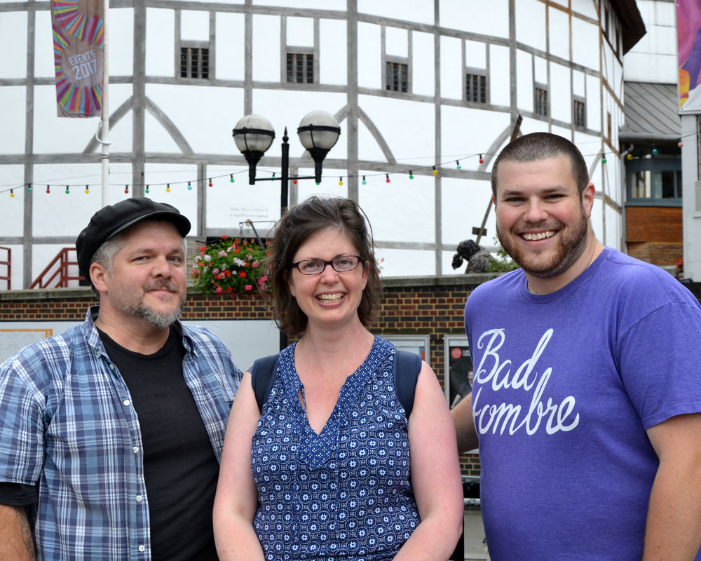 Phoenix, Amy, and Cory outside the Globe Theatre