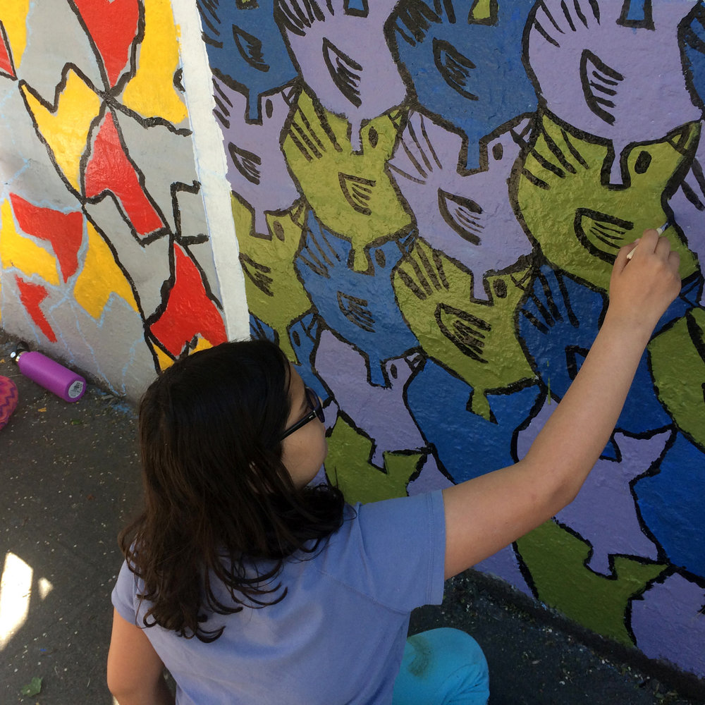 SPARK Art Installation - In 2017, our year one SPARK students created a public art Installation on the corner of 50th & the Ave! Students designed their own tessellation-based art and theatre and created a public art installation for everyone to enjoy!