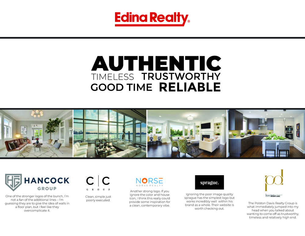 The JRG Moodboard highlights styles that are in line with their business personality. The existing Edina Realty logo (not a Pixel Loon design) is emphasized first and foremost since whatever logo solution we came up with had to work in tandem with it.