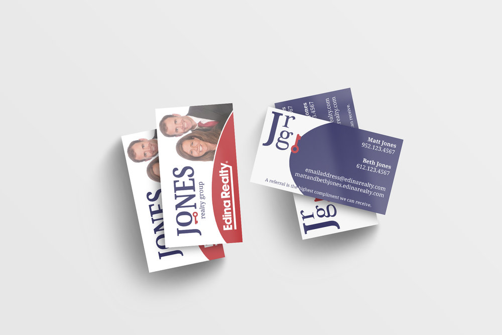 The JRG business card utilized two of the logo variations included as part of their design package.