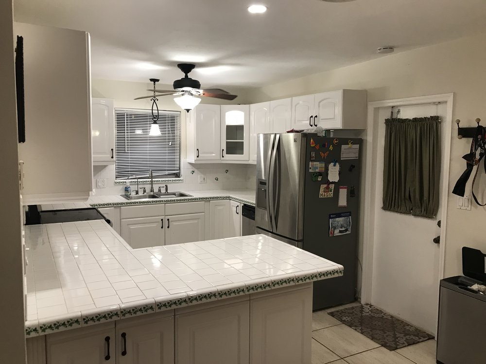 1980's Galley Kitchen with Tile Countertop