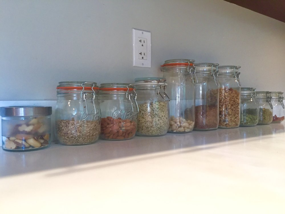 L-R: brazil nuts, sunflower seeds, almonds, hemp seeds, cashews, flax seeds, walnuts, pumpkin seeds, pistachios, goji berries.