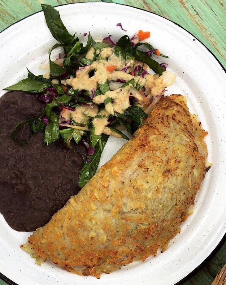The potato omelet stuffed with veggies, served with beans and salad. SO GOOD.