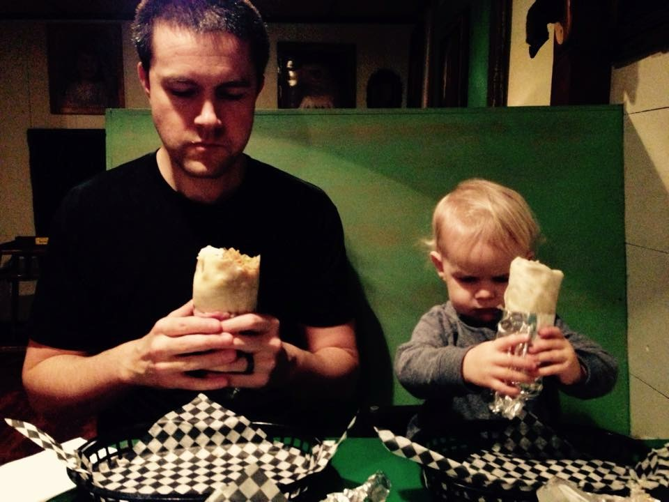 Burrito boys Arden and toddler Harlan at Budgie's. They also do kids burritos for a bargain price.