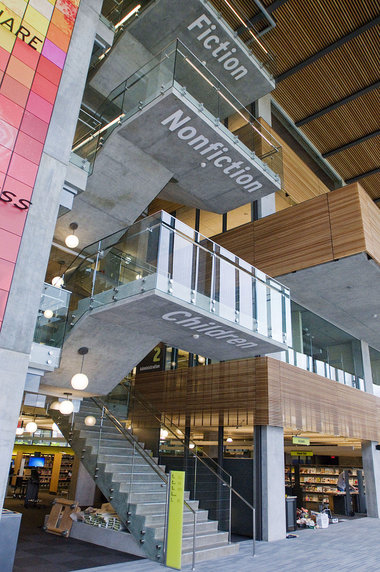 Staircase at Vancouver Community Library.                             Photo by Brent Wojahn/The Oregonian
