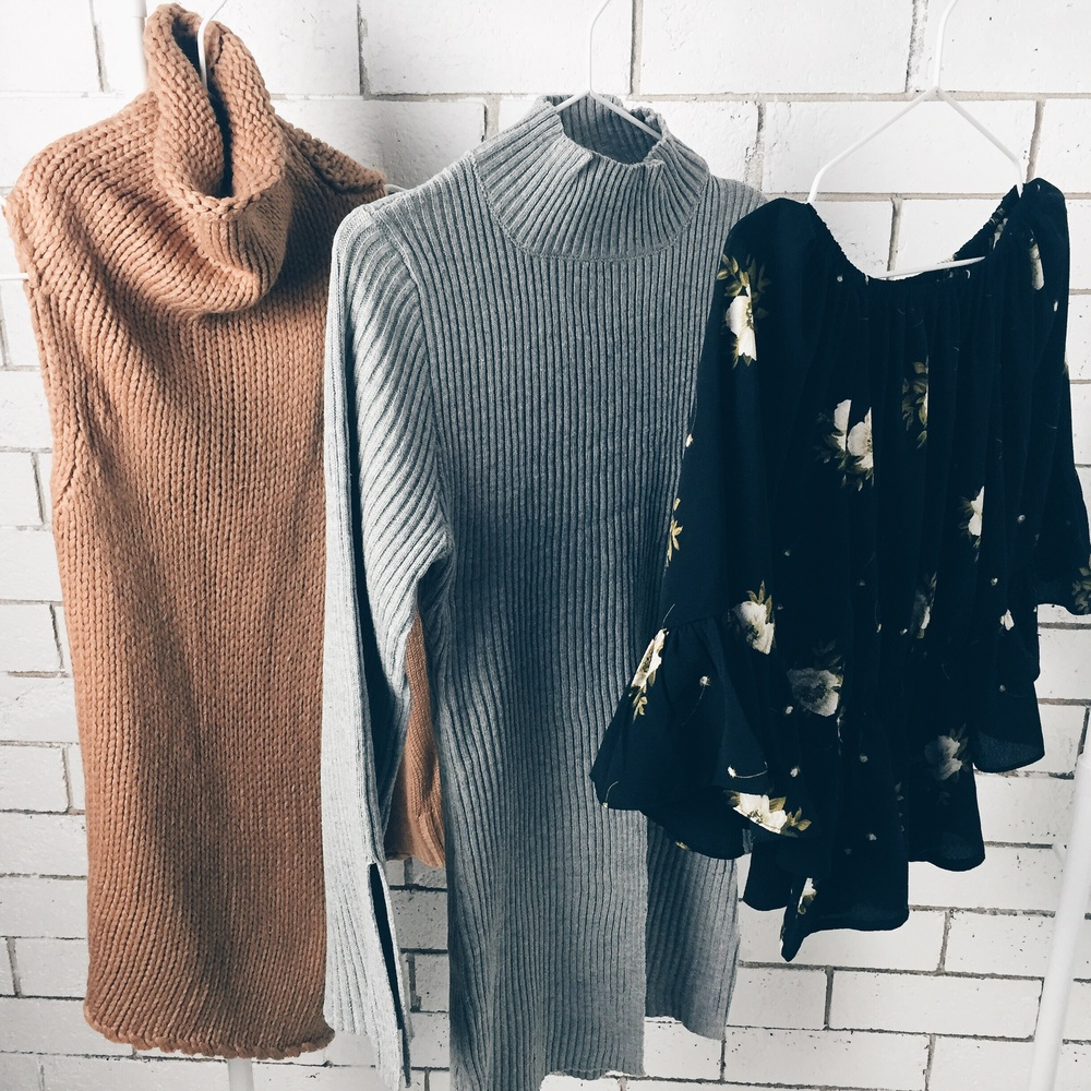 All pieces from Morrisday (prices from left to right) Wanderer Knit AU$75 Off Duty Knit AU$79 Winter Bloom Top AU$60