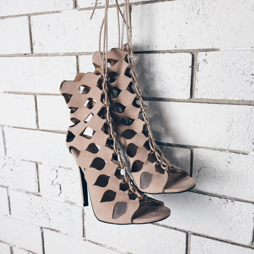 Chey Nude Geometric Cut Out Lace Up Heels AU$70