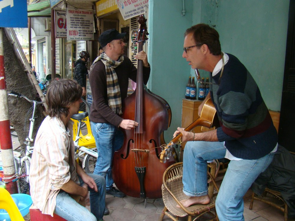 Hanoi street music with folk trio Relentless Muscle.
