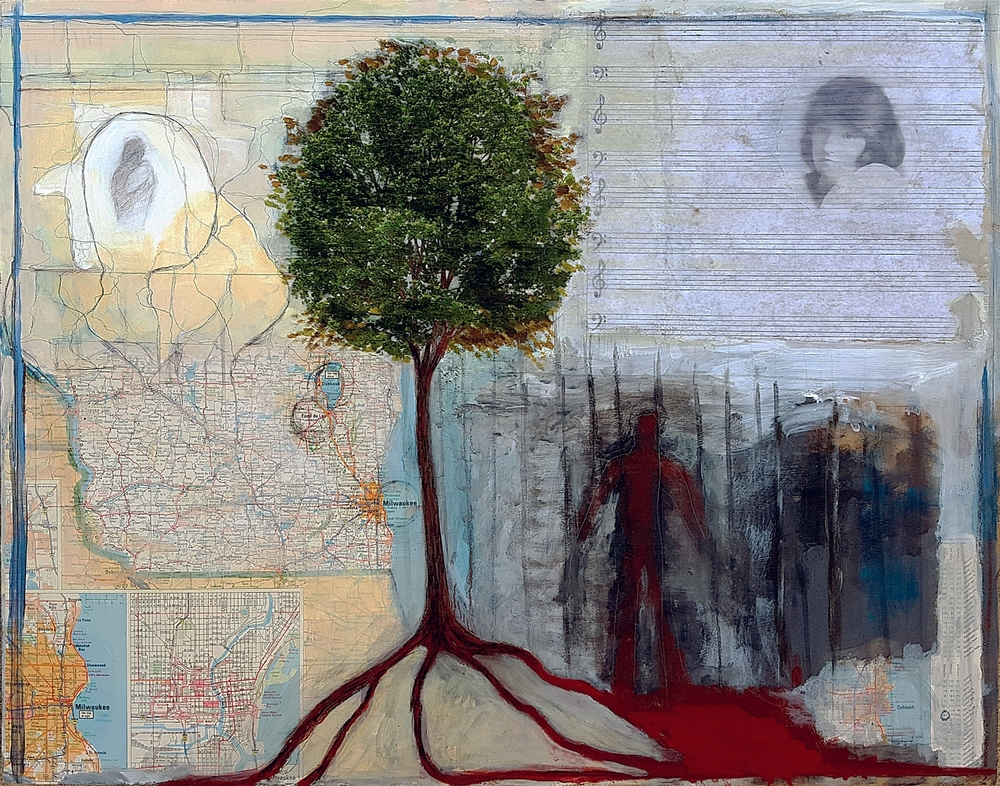 "Christine Ann   2015 acrylic, graphite, map, vellum, inkjet print on panel 18 3/4"" x 23 15/16"""
