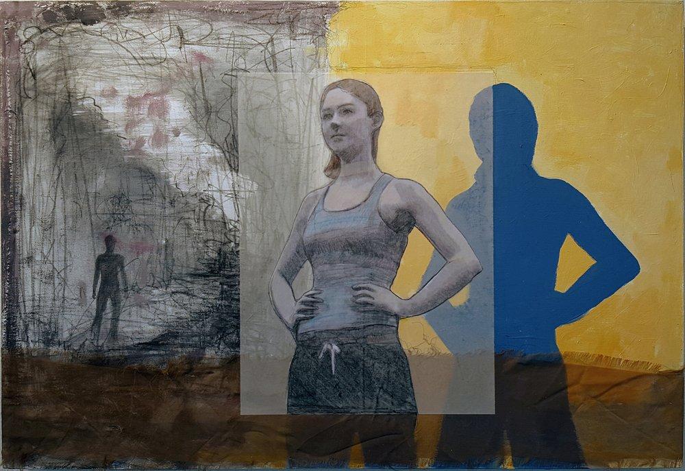 "April   2015 acrylic, graphite, conté, vellum, fabric on panel 16"" x 23"""