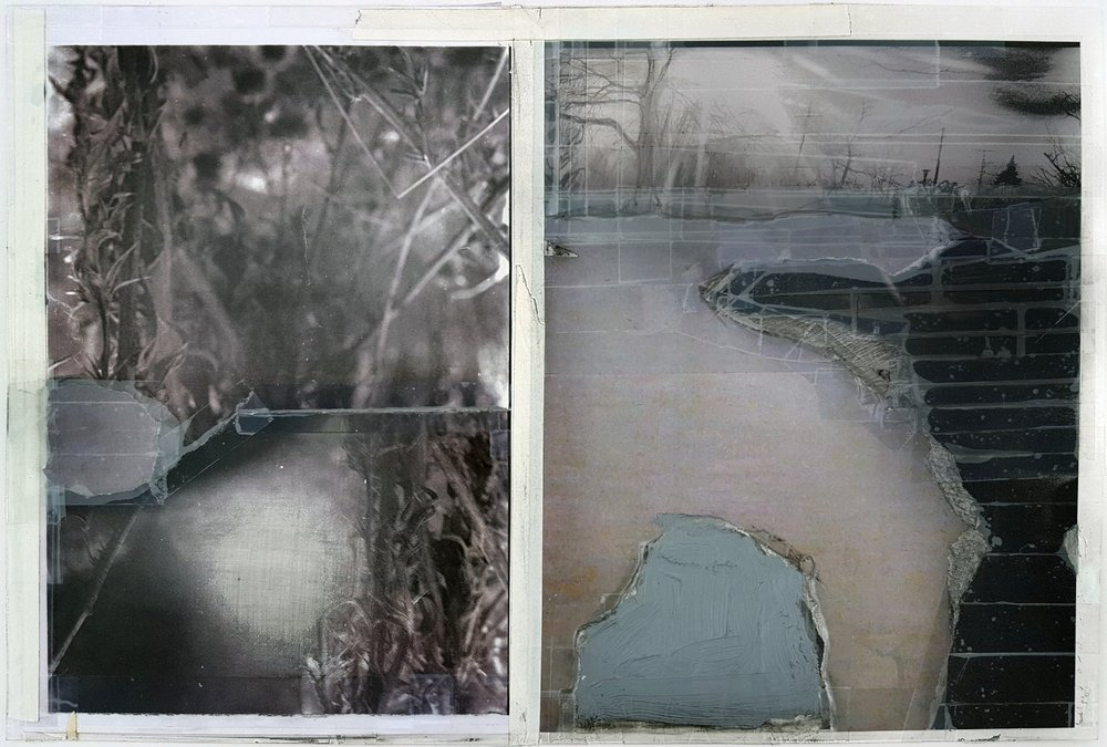"""A Winter of Loss, I Have Changed   2016 acrylic, graphite, transparent tape, artist's tape laser prints on matte photo paper 11"""" x 16 1/4"""""""