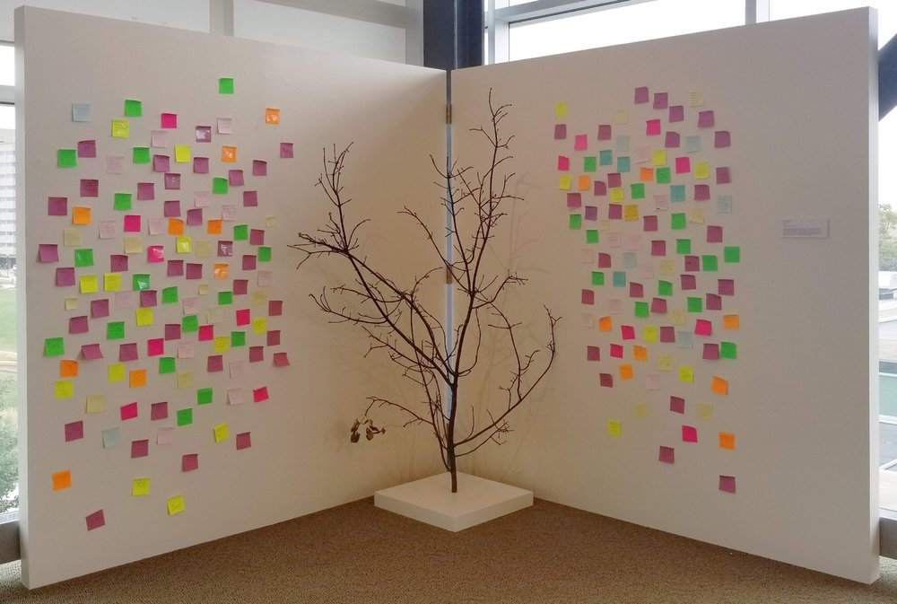 "New Growth   2017 tree branch, leaves, pedestal, Post-it notes, pen 16 1/4"" x 14 1/8"""