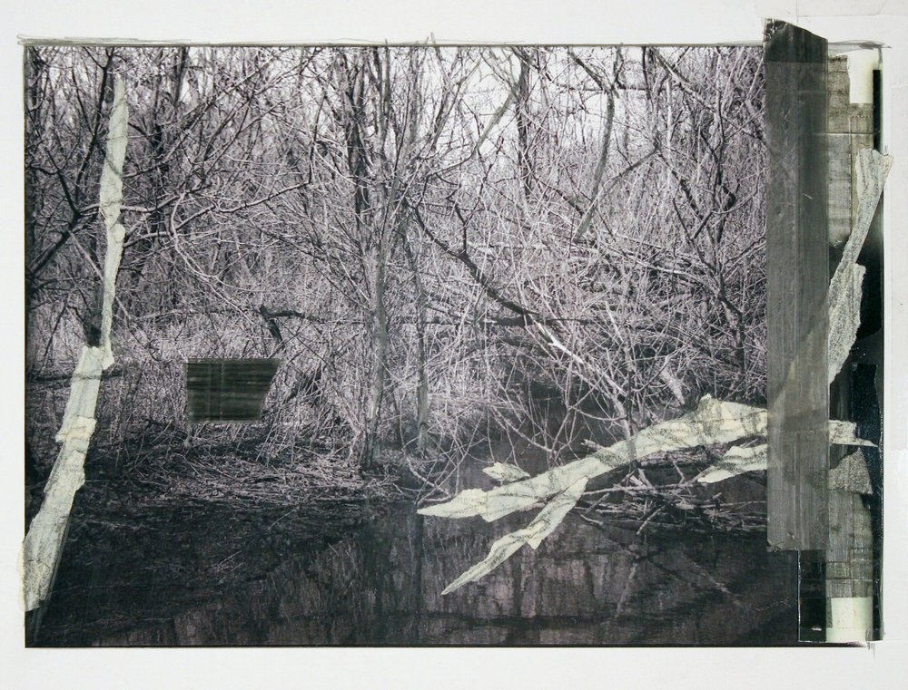 """I Could Hear the Water at the Edge of All Things        2017 graphite, masking tape, transparent tape, laser prints on matte photo paper 8 1/2"""" x 11 3/8"""""""