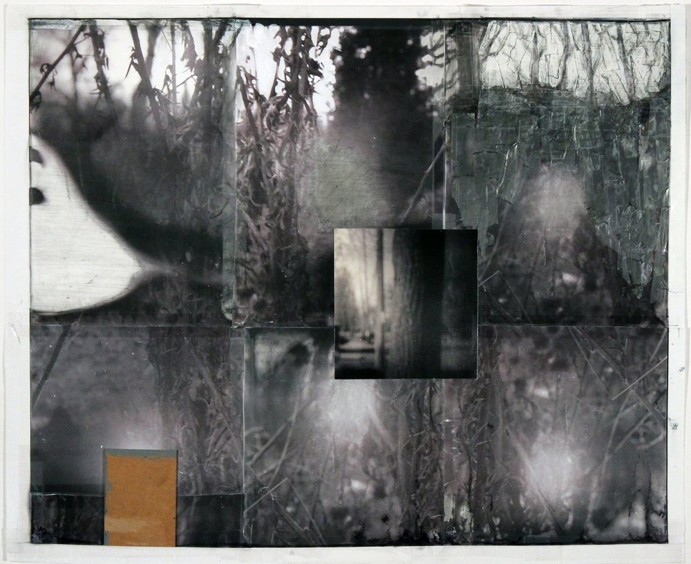 """Lost On Journeys We Walked On   2016 acrylic, graphite,transparent tape,laser prints on matte photo paper 17 5/8"""" x 21 1/2"""""""