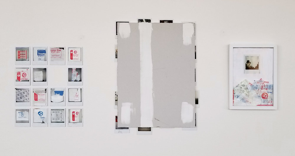 "David   2017 Polaroid photographs, medical bandages, frame bandage wrappers, sheetrock, spackle, pencil 28"" x 60"" x 1 1/4"""