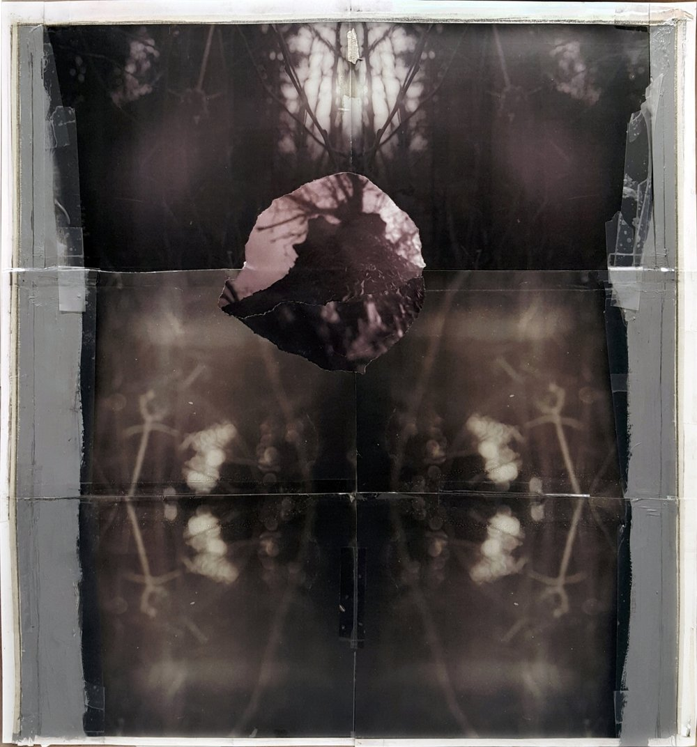 """Somewhere Between The Time You Arrive      And The Time You Go   2016 acrylic, graphite, transparent tape,masking tape laser prints on matte photo paper 21"""" x 19 7/8"""""""
