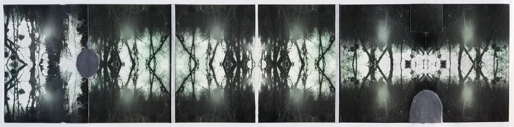 """Remembering When Darkness Turns Into the Dawn    2019 acrylic, graphite, cardboard, artist tape, transparent tape, laser prints  15"""" x 64"""""""