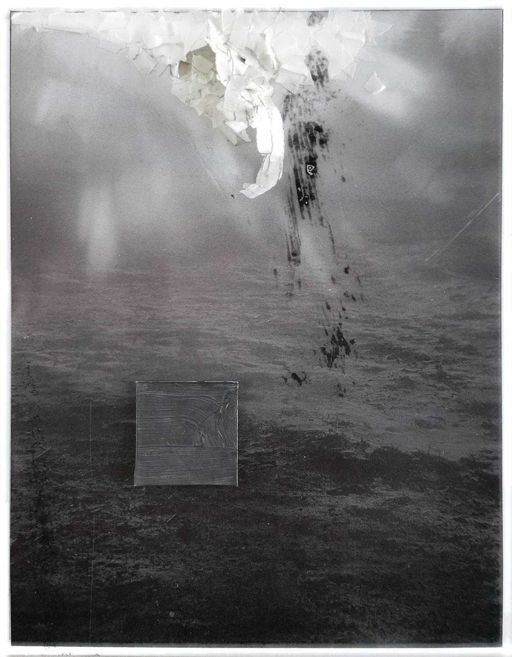 "Awake But Not Yet   2019 acrylic, graphite, cardboard, artist tape, laser print  11"" x 8 1/2"""