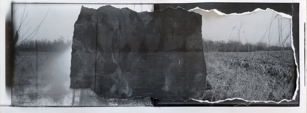 """Borrowing the Past   2019 laser prints, drywall dust, transparent tape, photo paper 7 3/4"""" x 21 1/2"""""""