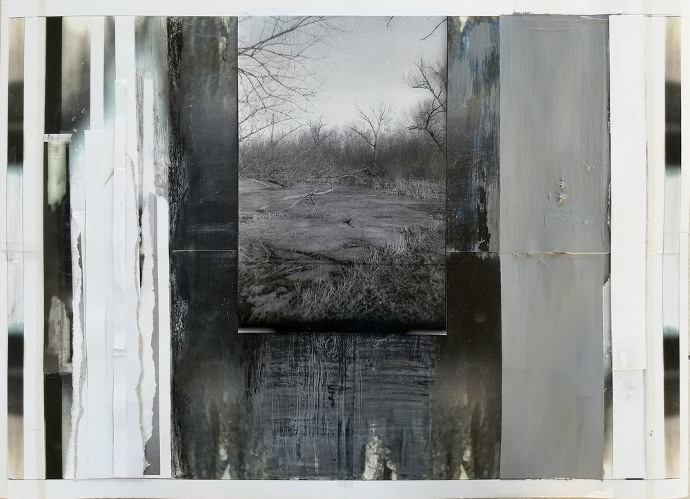 """To Know You, All Wrong We Were   2019 acrylic, graphite, china marker, laser prints, transparent tape, masking tape, photo paper 15 3/4"""" x 22"""""""