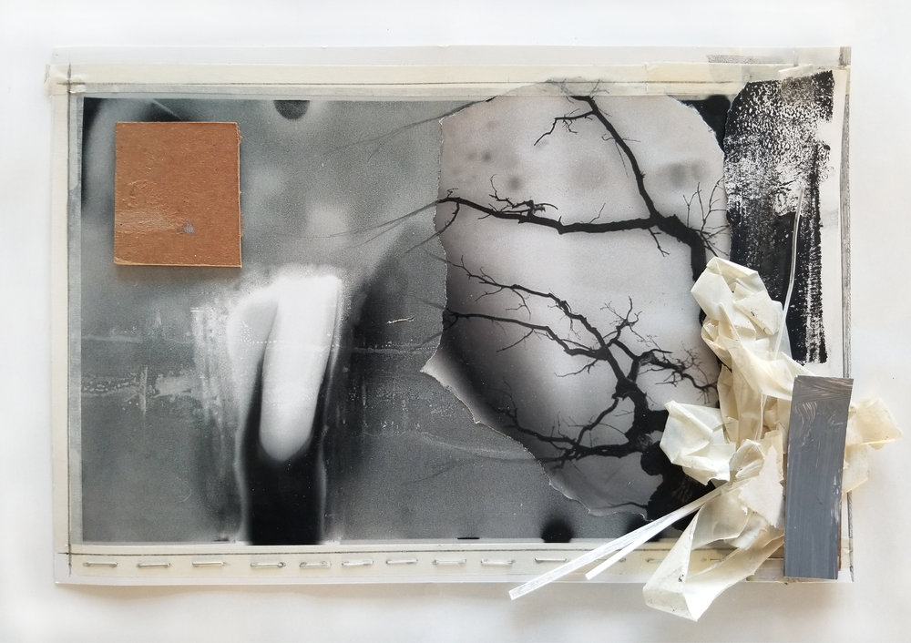 """Come to Me the Remembrance of    2019 acrylic, block printing ink, transparent tape, masking tape, cardboard, staples, laser prints, photo paper 8 1/2"""" x 12 3/4"""""""