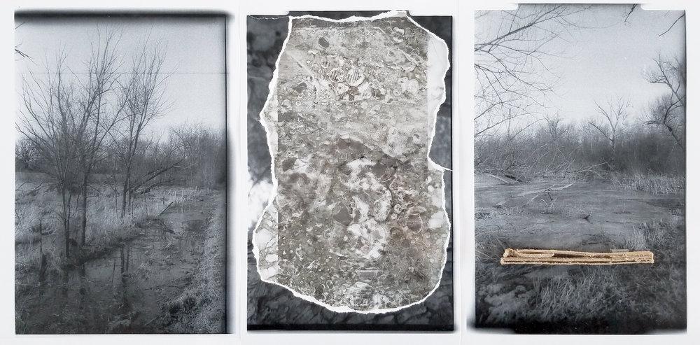 """Together Alone   2019 laser prints, cardboard, transparent tape, inkjet print on transparency 11"""" x 24"""""""