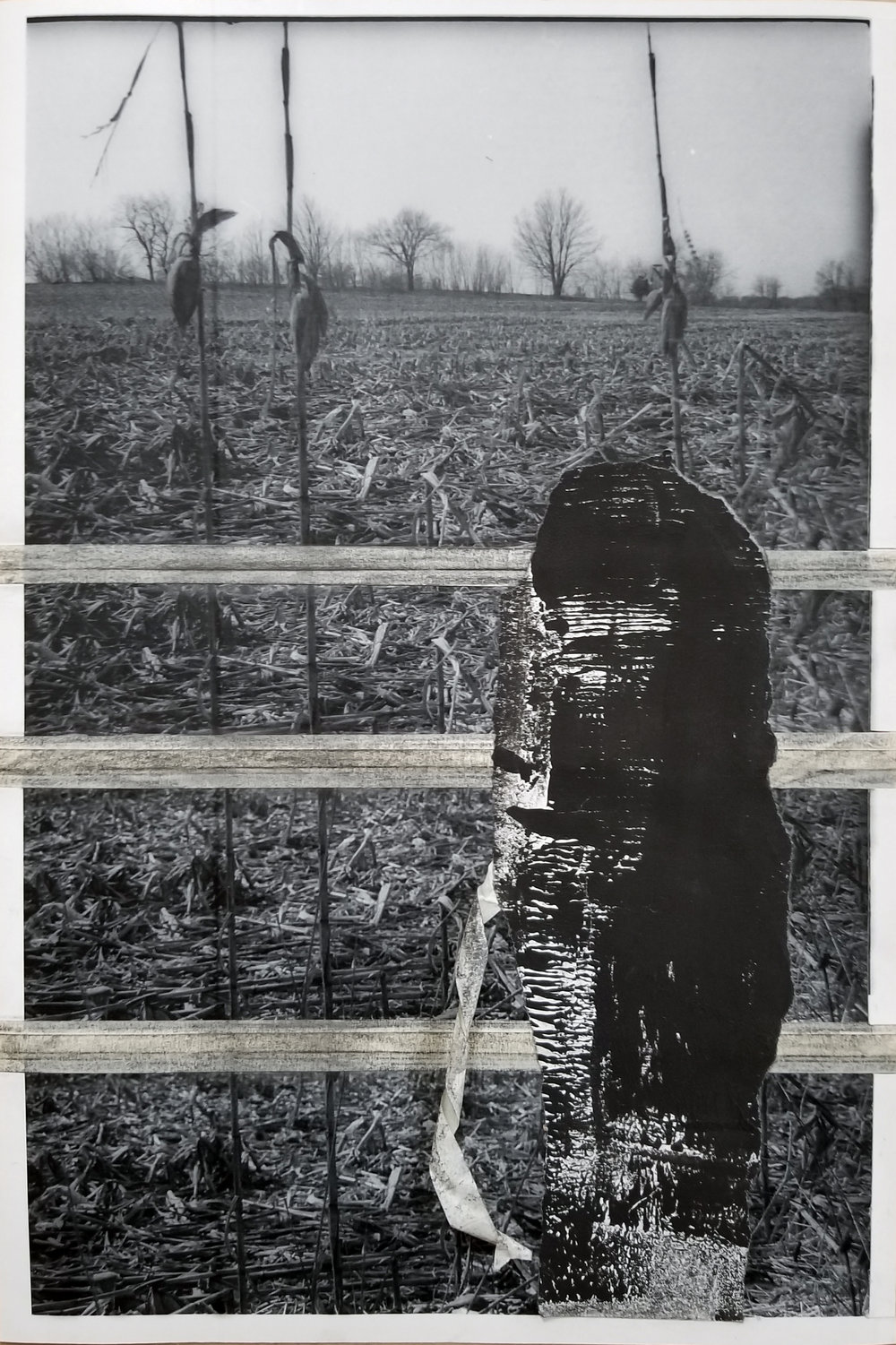 """We are the Earlier Ghosts of What Was   2019 graphite, masking tape, block printing ink, paper, laser prints 16"""" x 11"""""""