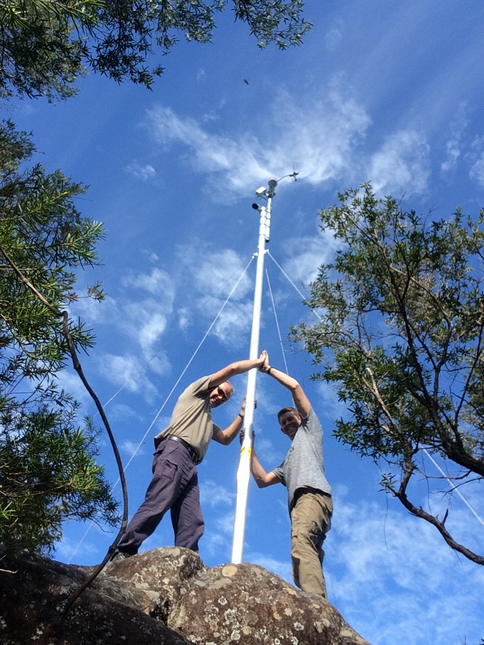 New weather station at Middle Brother with Joel and David doing the honours.