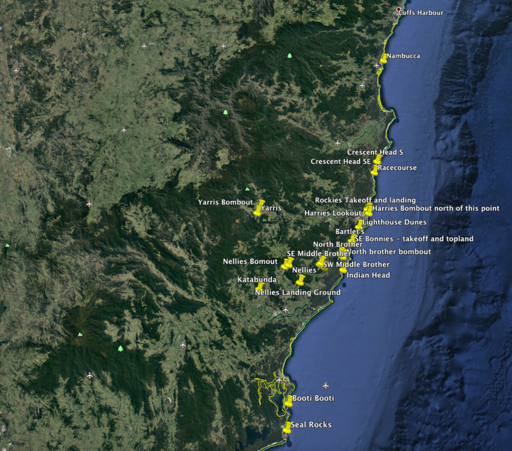 The key flying sites in the Mid North Cast of NSW